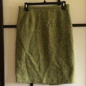 Ann Taylor Pencil Skirt Green Tweed Size 6